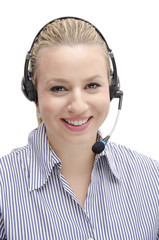 Customer service young blonde smiling