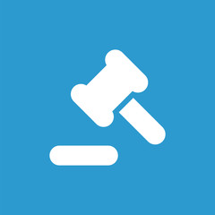 court law icon, white on the blue background .