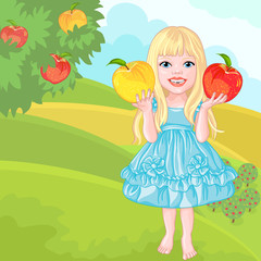 cute little girl with the apples laughs