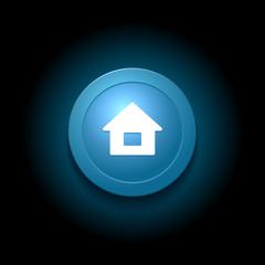 Home Button. Modern Glossy Blue Design. Vector