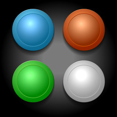 Set of Different Color Blank Buttons Template. Vector