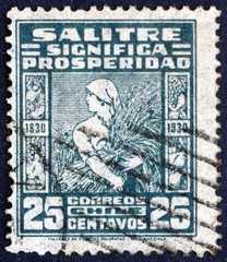 Postage stamp Chile 1930 Reaper with Ears of Corn