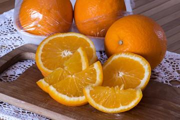 oranges and orange vacuum package