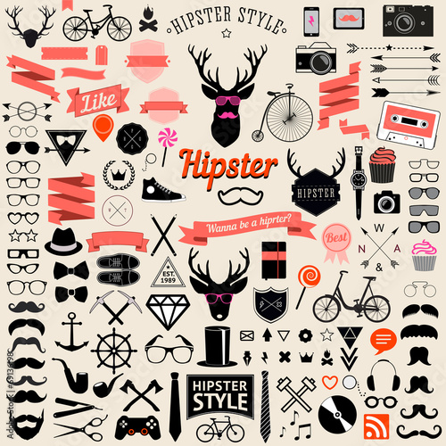 Aluminium Hipster Hert set of vintage styled design hipster icons