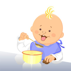 vector baby eats with a spoon from a bowl