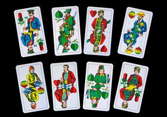 Spielkarten - Trumpfkarten Ober und Unter beim Schafkopf