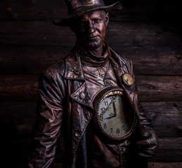 Image of watchmaker in bright fantasy stylization.