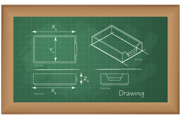 Technical Drawing on Green Board - Illustration