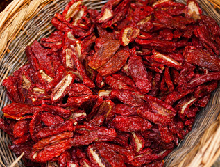 Dried chillies in the threshing basket