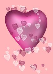 pinkes herz auf rosa hintergrund mit kleineren Herzen