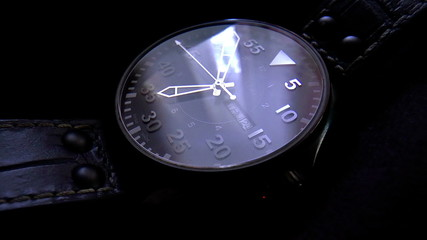 The video shows wristwatch with a second hand.