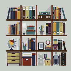 Wooden bookshelf with books, decoration,  and objects
