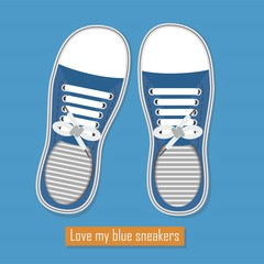 A pair of blue sneakers icon on blue background