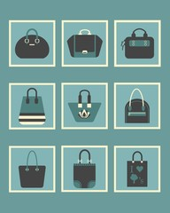 Unique women blue purse and bags square icons set