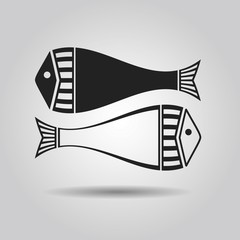 Abstract silhouette black and white fish icons - Pisces symbol