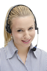 Call center elegant blonde
