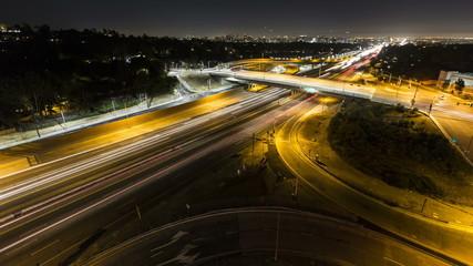 San Diego Freeway Night Wide  - Los Angeles