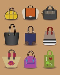 Unique fashionable women purse and bag icons set
