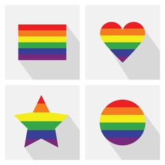 Pride flag icons in different shapes and long shadows