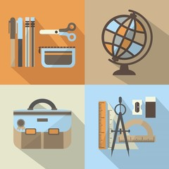 School stuff icons set with long shadow