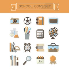 School icons set - Modern flat color and design