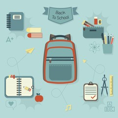 Back to school icons set - Modern flat design