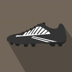 Soccer shoe icon with long shadow