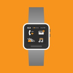 Smart watch with some application icons on an orange background