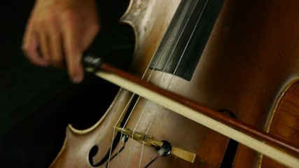 Cellist playing on cello. Detail shot on musical instrument.