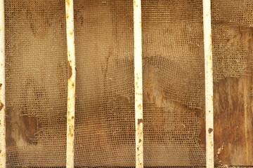 Fenêtre à barreaux avec grillage