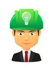 Male avatar with a lightbulb