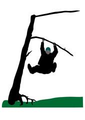 a man has hung on a tree