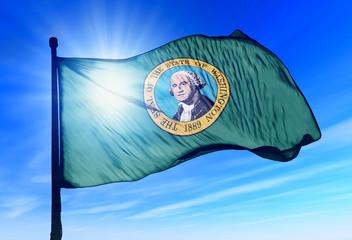 Washington (USA) flag waving on the wind