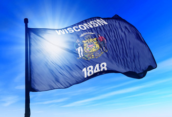 Wisconsin (USA) flag waving on the wind