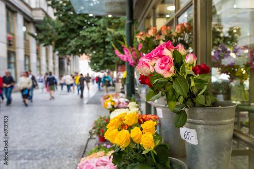 Fototapeta Flower stand in the center of Prague