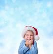 canvas print picture - kind mit weihnachtsmütze