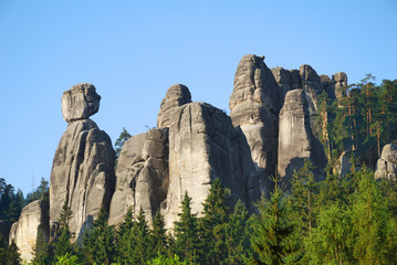 High and mighty sandstone rock towers in Adrspach