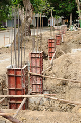 Iron formwork concrete foundation at building yard