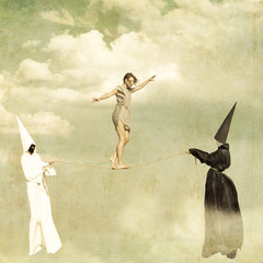 Woman walking along a tightrope held by two mysterious persons