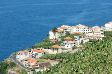 Aerial view of houses along coastline Madeira Island