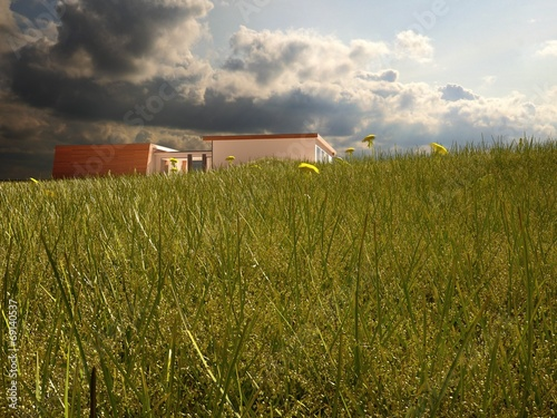 canvas print picture Modern Villa from Below