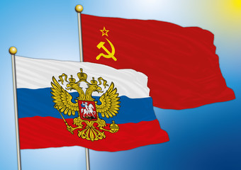 russia and soviet union flags