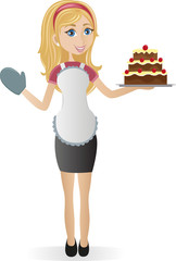 Cooking girl with cake