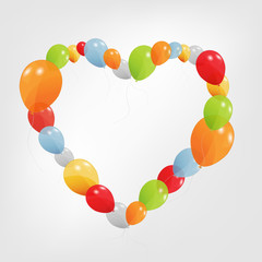 Colorful Heart from balloons. Vector Illustration.