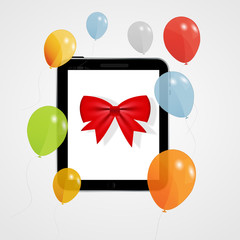 Digital tablet gift vector illustration