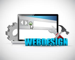 web design laptop computer concept illustration