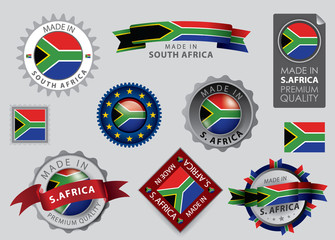 Made in South Africa Seals, S. African Flag (Vector Art)