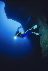 Caribbean Sea, Belize, deep dive in the Belize Blue Hole