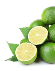 Fresh juicy limes, isolated on white
