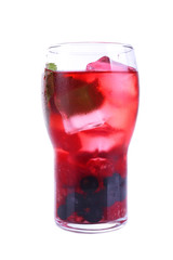 Glass of berry cocktail with mint on white background isolated